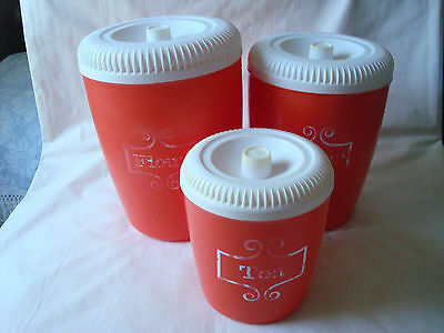 RETRO~(3) Pc. Red & White CANISTERS~Flour~Sugar~Tea~Stanley Home?