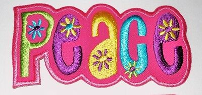 *Embroidered* Peace hippy  iron / sew on patch size 10.5cmx5.2cm .