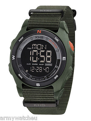 KHS Tactical Watches Digital Compass Alarm Chronograph Stopwatch Army Band Light