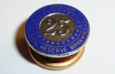 Vintage Quarter Century Club Federal Reserve Bank of NY Pin Hat Badge Screwback