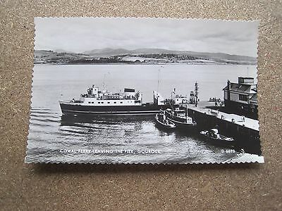 Vintage Postcard Rp Cowal Ferry Leaving The Pier Gourock Valentines