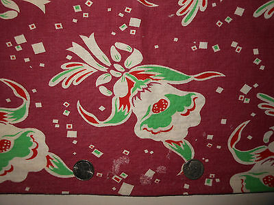 Vintage feedsack floursack red green white floral fabric sewing quilting crafts