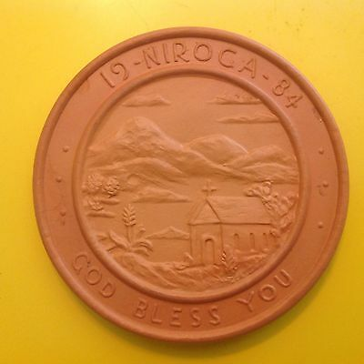 Frankoma COLLECTOR Plate Trivet NIROGA GOD BLESS YOU 1984 Pottery Collectible