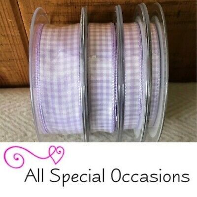 PRETTY Berisfords 7391 Gingham LILAC LAVENDER Colour 910 Ribbon Small Check 25mm