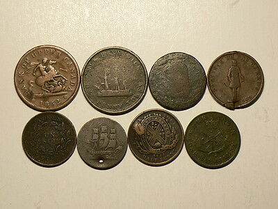 Canada, Lot of 8 Colonial Tokens, All Culls, Metal Detection #5082