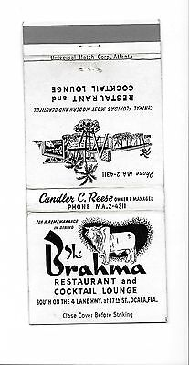 Vintage Matchbook Cover From The Brahma Restaurant in Ocala, Fla.