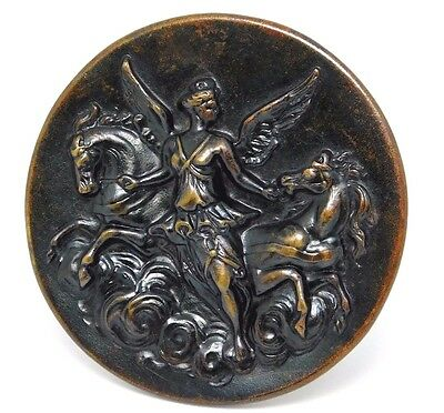 """Large Antique Picture  Button Horses Mythology Tinted Brass 1.50"""""""