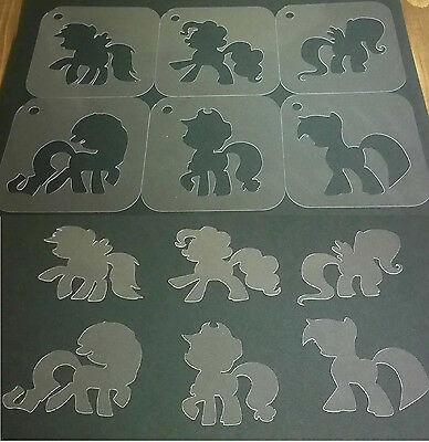 MY LITTLE PONY Set of 6pcs Craft Stencils Strew Airbrushing Dusting Body Face