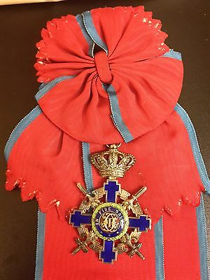 ROMANIA Royal SILVER Order STAR Grand CROSS Romanian Sash MEDAL WW2 1942 GERMANY