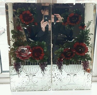 Pair of Victorian painted and etched mirror glass panels