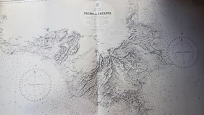 Vintage British Admiralty Chart 187 Sicily - Palma to Catania