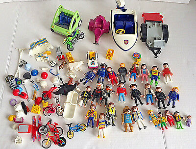 Large Lot Playmobil Pieces People Animals Vehicles Boat Bicycles Car