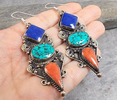 Large Nepal Tibet Silver TURQUOISE RED CORAL LAPIS Earrings E575~Silverwave*uk
