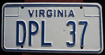 Official Virginia DIPLOMAT License Plate Number # 37