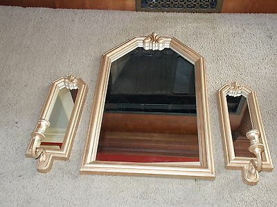 Vintage Homco / Home Interiors Resin Frame Gold Mirror  2 Matching Sconces