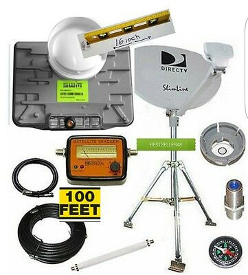 NEW DIRECTV SWM 3  Portable Satellite RV Dish Kit Camping Tailgating 100 FT WIRE