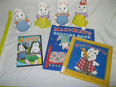 Bulk Lot *MAX & RUBY* Kids Cartoon Series Toy Plush Lot Books DVD Set Collection