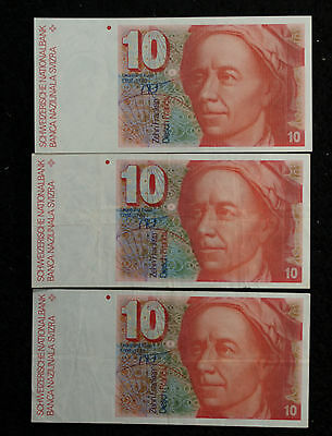 Three Swiss 10 Francs Note 1987 - One Nice Uncirculate - Two VF/XF