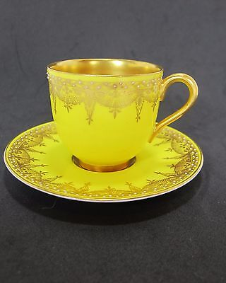 ANTIQUE Royal Worcester Set Cup Saucer C899 1915 Demitasse Yellow JEWELED beads