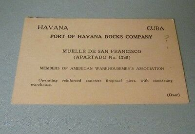 1930's Port of Havana Cuba Docks Company Advertising Card American Warehousemen