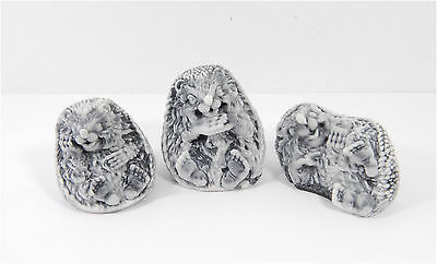 Set of 3 Pressed marble stone crumb Hedgehog figurine from Russia