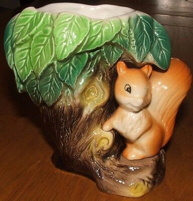 Hornsea Pottery Tree Vase Shape No 26 with a Squirrel.