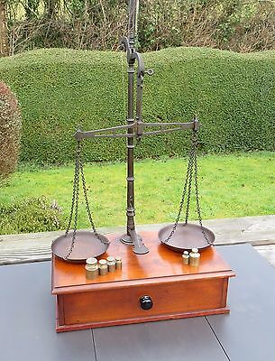 Antique Avery Jewellers Desk Top Balance Scales on Mahogany Base with Drawer