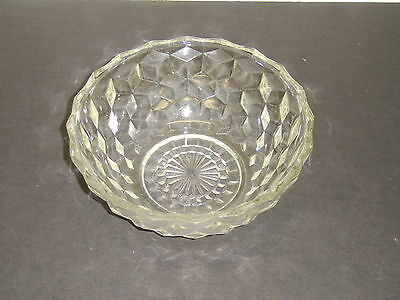 """Jeannette Glass Cube Cubist Crystal Smooth Rim 6 3/4"""" Bowl"""