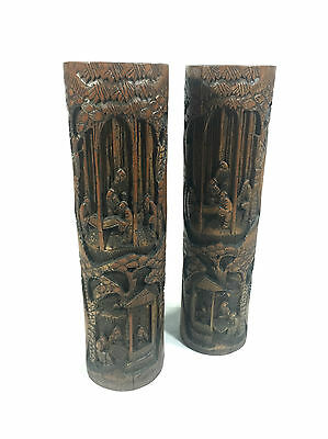 Chinese Wooden Brush Pots Bamboo 1900's Hand Craved Pair