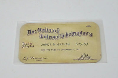 Vintage The Order Of The Telegraphers Card-1933
