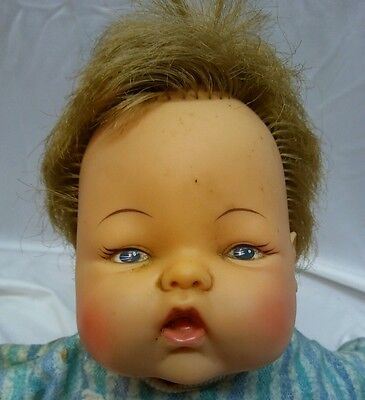 """1960s/1970s Ideal Doll Corp. 14"""" Thumbelina Wooden Knob Crank Wiggling Doll"""