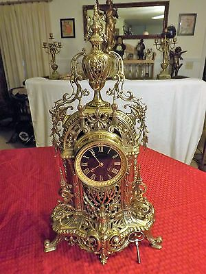 FRENCH SOLID BRASS CATHEDRAL 19th CENTURY CLOCK