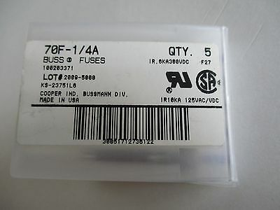 Cooper Bussmann 70F-1/4A Fuses - Box of 5