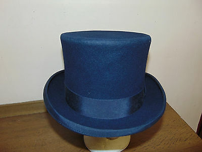 Child size navy blue wool felt top hat topper Victorian steampunk Willy Wonker S