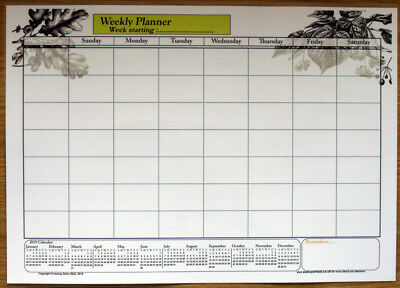 A3 Size Laminate Weekly planner dry wipe wall chart with 2019 & 2020 calendar