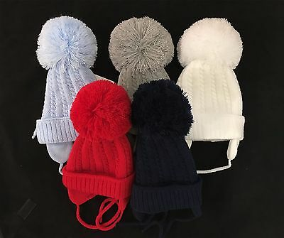 Gorgeous Baby Pom Hats with Ear Flap and Tie/ Infant Pom Hats/Big Pom/Cable knit