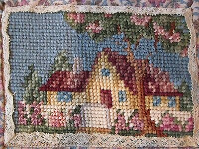 Vintage needlpoint house wool work Home scene spring time