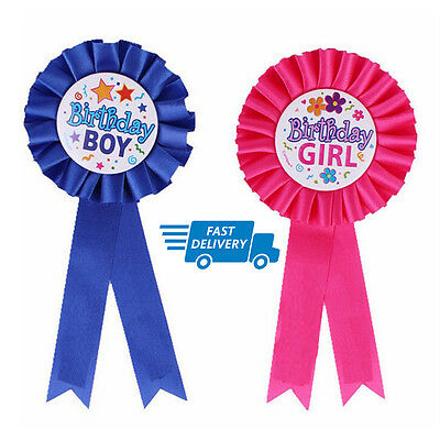 Happy Birthday Boys Badge/Girls Badge Rosette Blue Pink Deluxe Ribbon Safety Pin