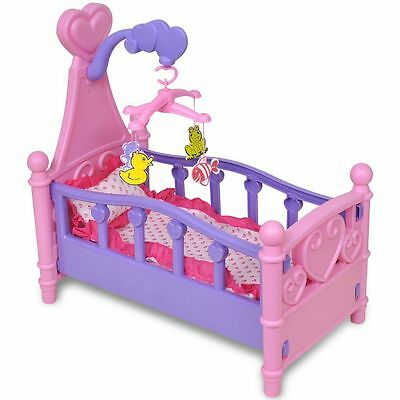 Girls Doll Baby Bed Pink Purple Kids Children Pretend Role Play Toy Plastic New