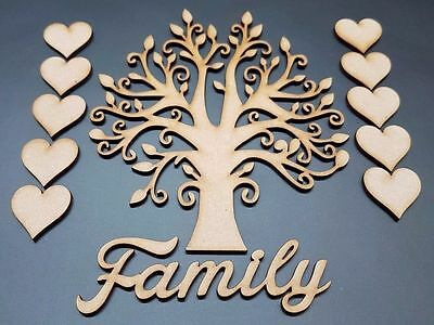 Family Tree Set MDF Wooden Laser Cut Craft Blank Shape Wedding Guestbook S213