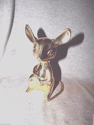 """BRASS MOUSE PAPERWEIGHT Standing Hands Folded In Front  5"""" Cute!"""