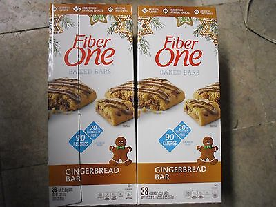 New ! 2 X 33.80ct Fiber One Bars Chewy Original 90 Calorie Gingerbread
