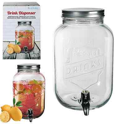 Glass Drink Dispenser For Flavored Water Juice Party Punch Jar With Tap 3.5ltr