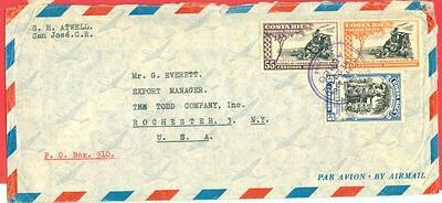 Costa Rica 3 diff Large stamp used on cover to USA