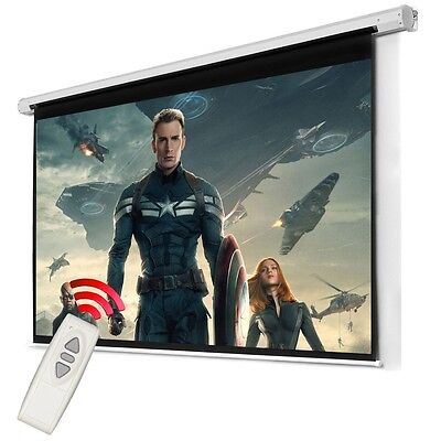 Electric Projector Screen Motorized Remote Control Home Cinema TV White Free P+P
