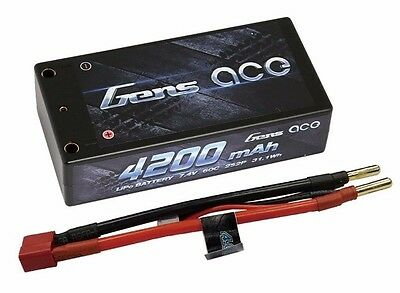 Gens Ace 2S 4200mAh 7.4V 60C/120C Lipo Shorty HardCase Racing RC ROAR Deans