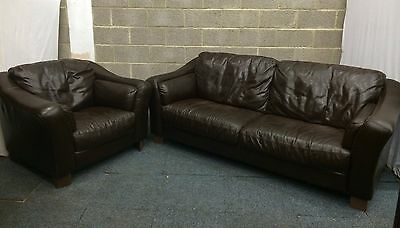 Matching Brown Leather Three Seater Sofa And Armchair