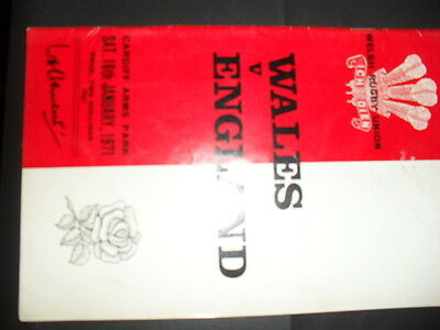 Wales v England 1971 Rugby. Match programme.