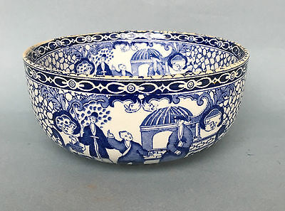 Victorian ANTIQUE BLUE & WHITE ADAMS BOWL William chinoiserie pottery large