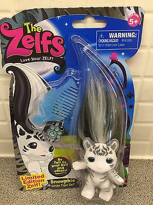 "The Zelfs Snowphie White Tiger Zelf 3"" Limited Edition Flocked Troll Toy & Charm"